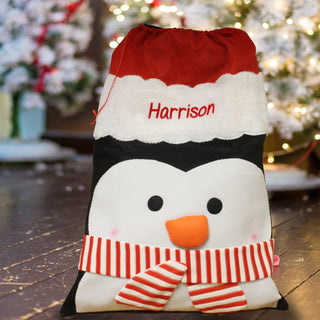 Personalised Penguin Plush Christmas Sack
