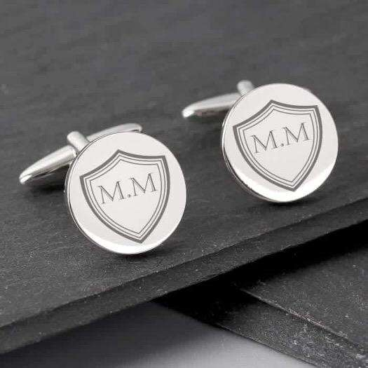 Personalised Shield Initials Round Cufflinks from Pukkagifts.uk