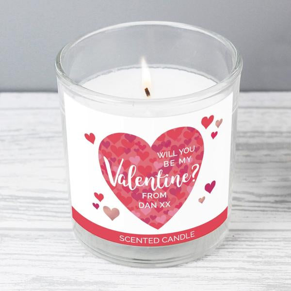 Personalised Will You Be My Valentine Confetti Hearts Scented Jar Candle - www.pukkagifts.uk