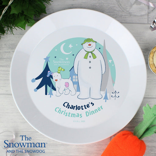 Personalised The Snowman and the Snowdog Christmas Plastic Plate