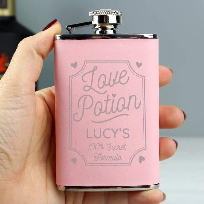 Personalised Love Potion Pink Hip Flask from Pukkagifts.uk