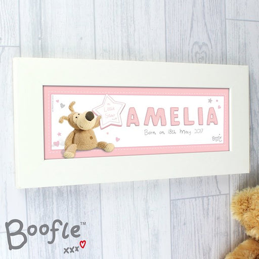 Personalised Boofle It's a Baby Girl Name Frame from Pukkagifts.uk