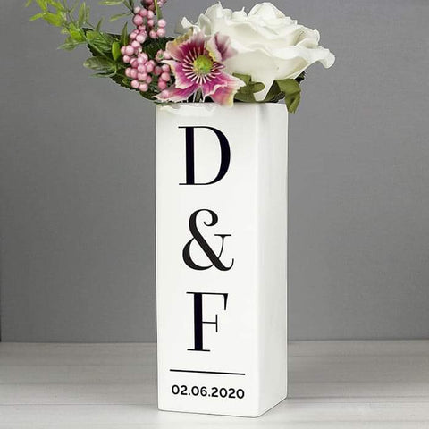 Personalised Initials Square Vase | Gift For Anniversary | Wedding | New Home | Housewarming