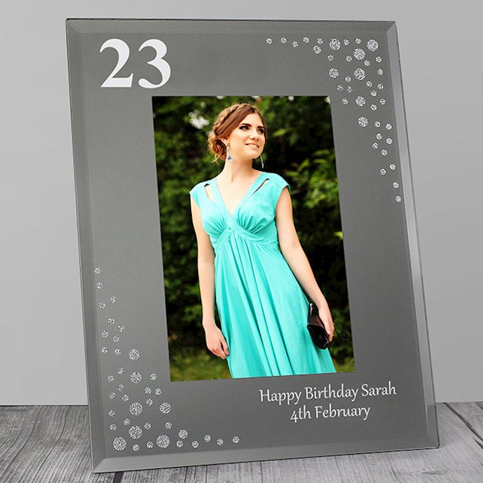 Personalised Birthday Age Diamante Glass Photo Frame 4x6 from Pukkagifts.uk