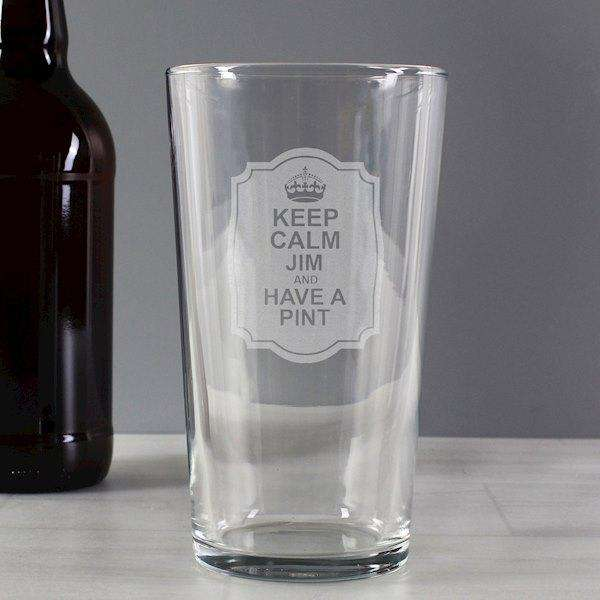 Personalised Keep Calm Pint Glass from Pukkagifts.uk