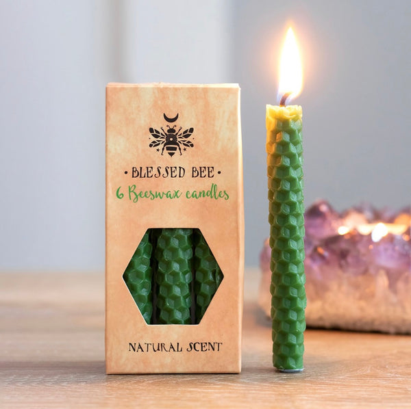 Pack of 6 Green Beeswax Spell Candles