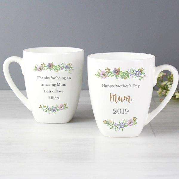 Personalised Floral Watercolour Latte Mug from Pukkagifts.uk