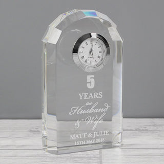 Personalised Anniversary Crystal Clock From Pukkagifts.uk