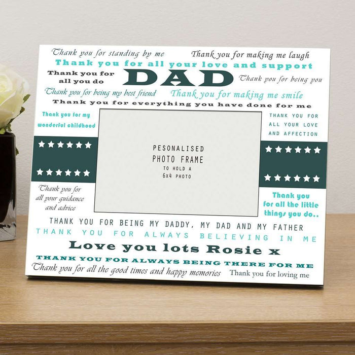 Personalised Thank You Dad Photo Frame Wooden 6x4 from Pukkagifts.uk