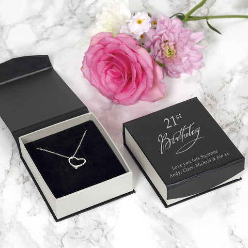 Sterling Silver Heart Necklace In A Personalised 21st Birthday Box