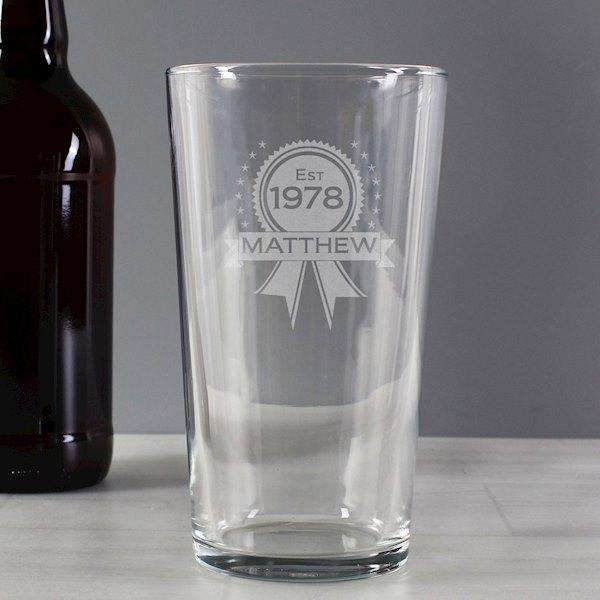 Personalised Established Rosette Pint Glass from Pukkagifts.uk
