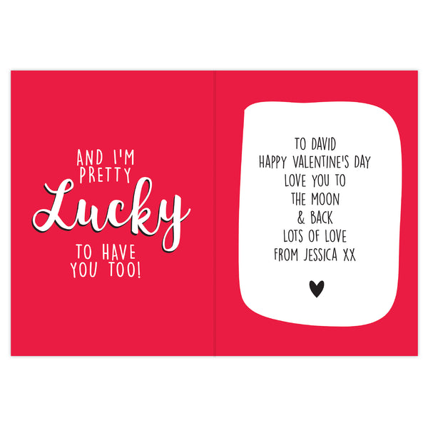 Personalised You're One Lucky Guy Card