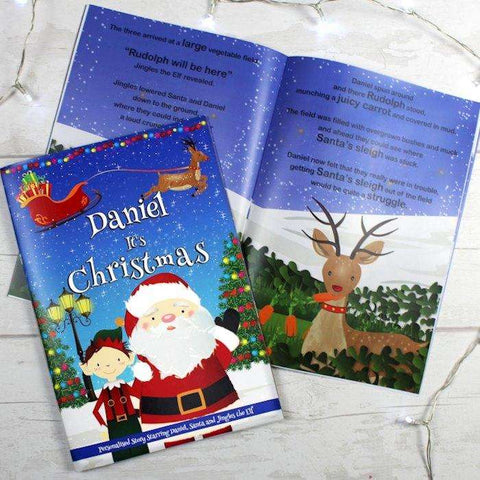 Personalised Boys It's Christmas Story Book Featuring Santa and his Elf Jingles,Pukka Gifts