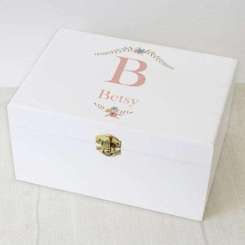 Personalised Floral Bouquet White Wooden Keepsake Box from Pukkagifts.uk