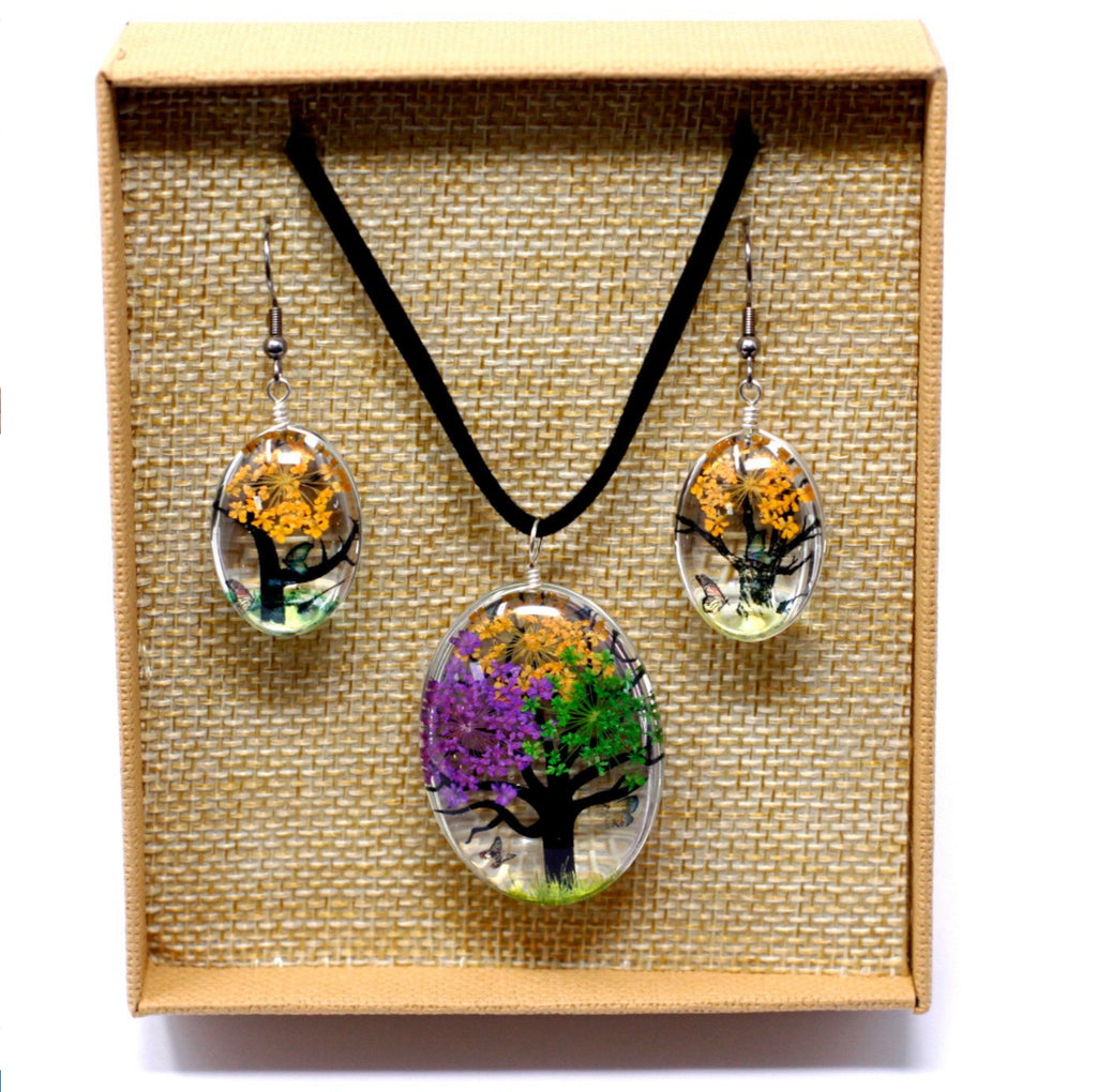 Pressed Flowers - Tree of Life Jewellery Set - Mixed Colours