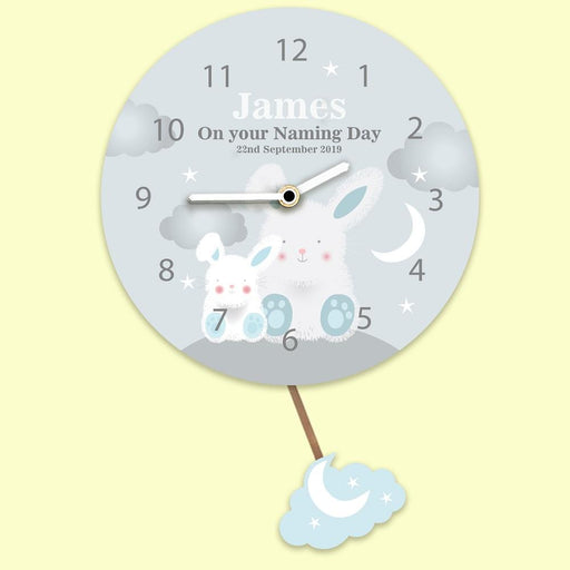 Personalised Pendulum Wall Clock - Starry Night Bunny Rabbit - Pukka Gifts