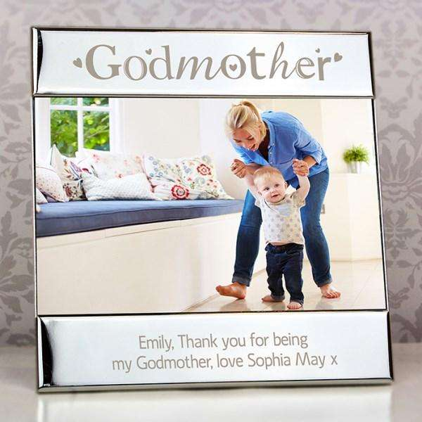 Personalised Silver Godmother Square 6x4 Photo Frame from Pukkagifts.uk