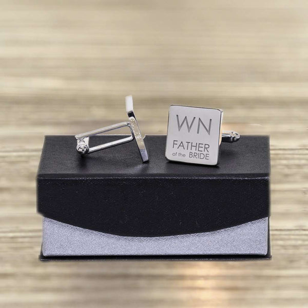 Grandad Of The Bride Initials Square Engraved Cufflinks from Pukkagifts.uk