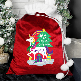 Personalised Christmas Unicorn Luxury Pom Pom Sack