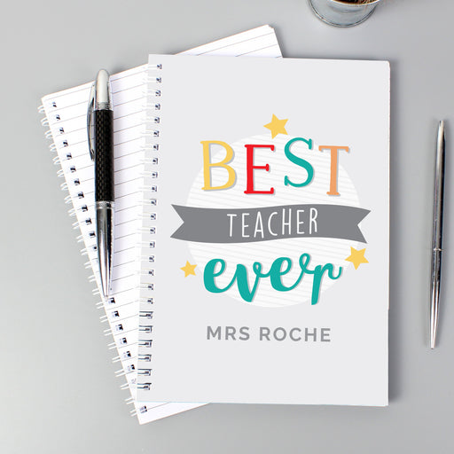 Personalised 'Best Teacher Ever' A5 Notebook