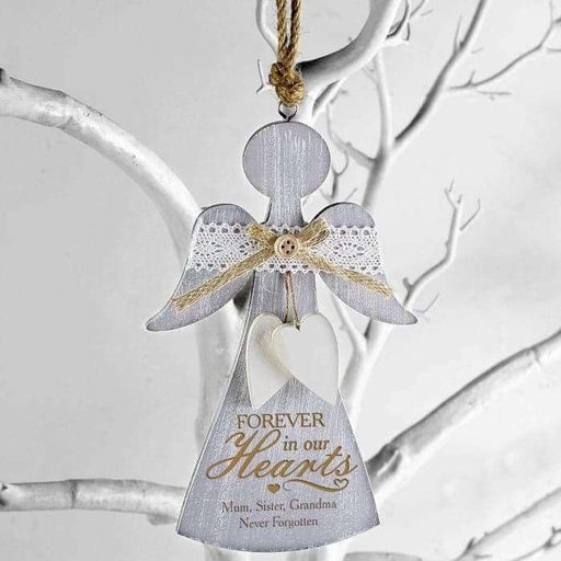 Personalised In Loving Memory Forever In Our Hearts Wooden Angel Decoration from Pukkagifts.uk