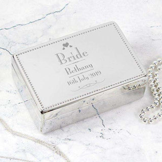 Personalised Wedding Bride Jewellery Box from Pukkagifts.uk