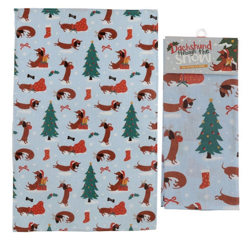 Poly Cotton Tea Towel - Christmas Dachshund Through The Snow