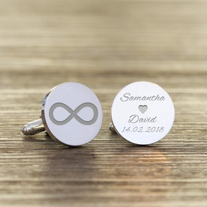 Personalised Infinity Names and Date Cufflinks