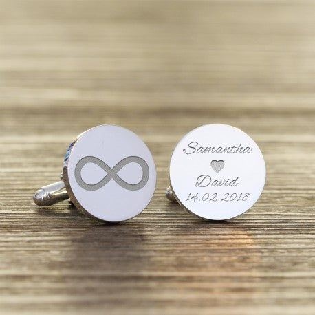 Personalised Infinity Names and Date Cufflinks from Pukkagifts.uk