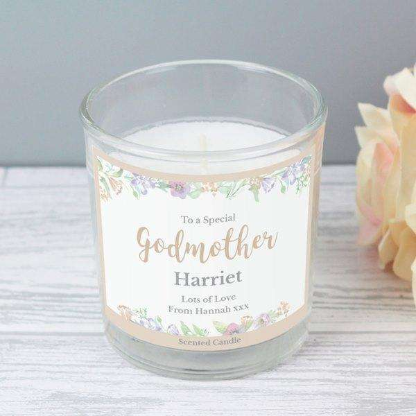 Personalised Floral Watercolour Scented Jar Candle from Pukkagifts.uk