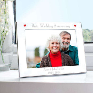 Personalised Ruby 40th Wedding Anniversary Photo Frame 7x5 Landscape from Pukkagifts.uk