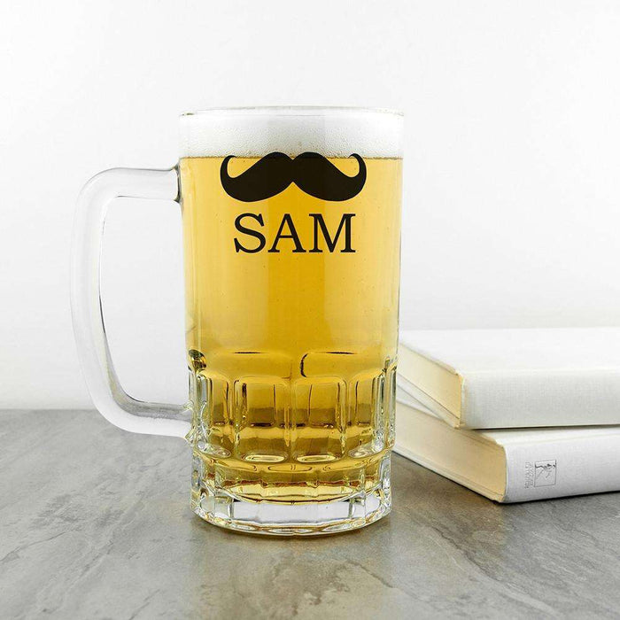 Personalised Moustache Glass Tankard from Pukkagifts.uk