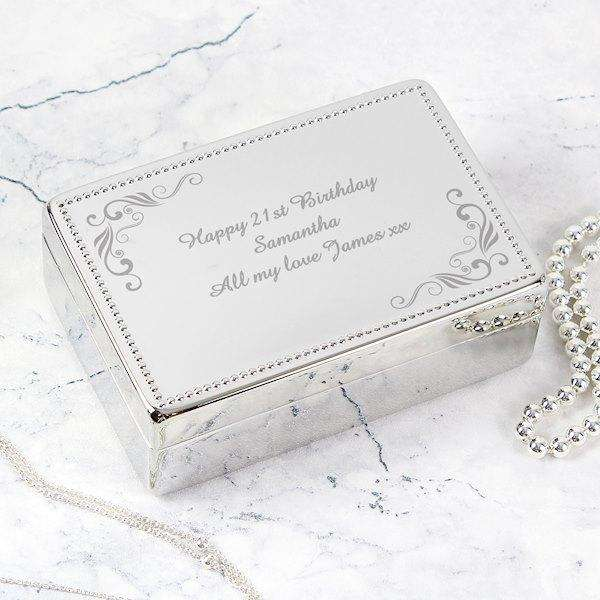 Personalised Swirl Rectangular Jewellery Box from Pukkagifts.uk