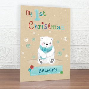 Personalised My 1st Christmas Card - Polar Bear Design,Pukka Gifts