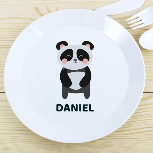 Personalised Panda Plastic Plate from Pukkagifts.uk