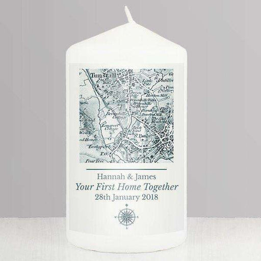 Personalised 1805 - 1874 Old Series Map Compass Pillar Candle from Pukkagifts.uk