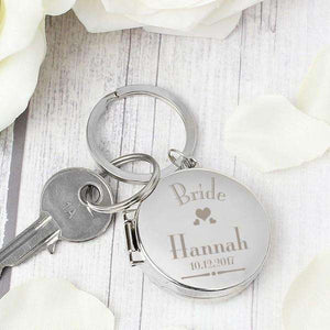 Personalised Wedding Bride Round Photo Keyring from Pukkagifts.uk