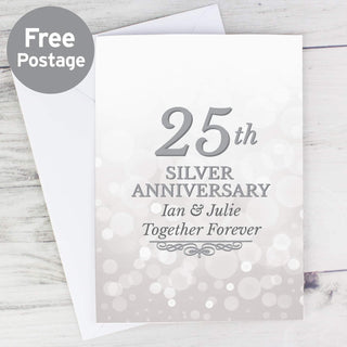 Personalised 25th Silver Anniversary Card