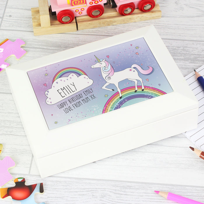 Personalised Unicorn White Jewellery Box