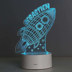 Personalised Rocket LED Colour Changing Night Light from Pukkagifts.uk