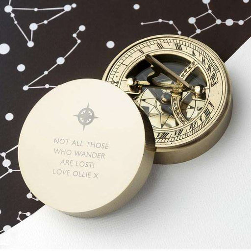 Engraved Iconic Adventurer's Sundial Compass from Pukkagifts.uk