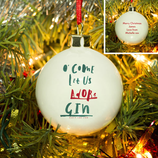 Personalised O' Come Let Us Adore Gin Christmas Bauble