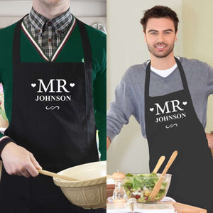 Personalised Mr & Mr Aprons from Pukkagifts.uk