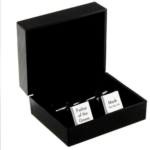 Personalised Wedding Role Square Cufflinks -3 lines from Pukkagifts.uk