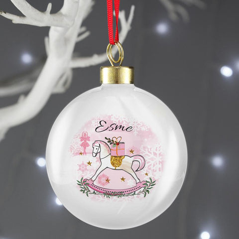 Personalised Pink Rocking Horse Christmas Bauble