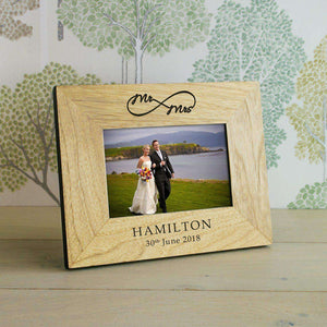 Personalised Mr/Mrs Infinity Wedding Wood Engraved Photo Frame from Pukkagifts.uk