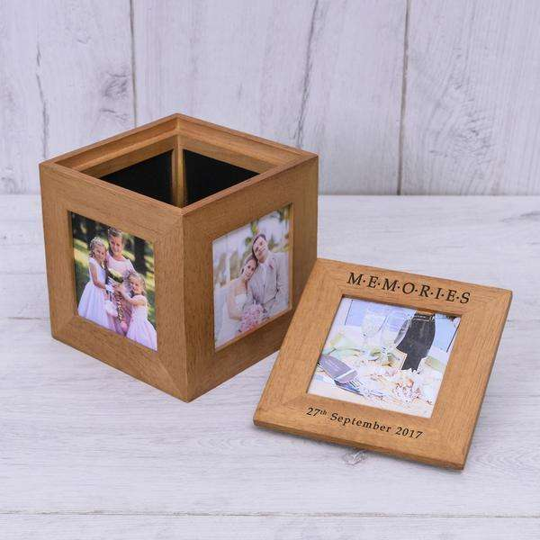 Personalised Memories Photo Frame Cube Oak from Pukkagifts.uk