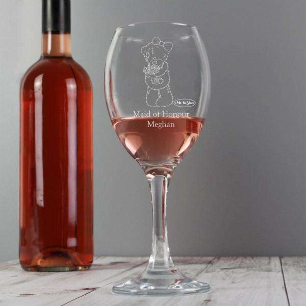 Personalised Me To You Wedding Female Wine Glass from Pukkagifts.uk