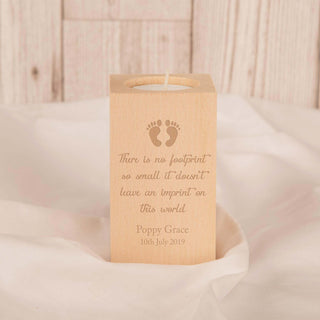 Personalised Unique Baby Footprints Memorial Wooden Tealight Holder