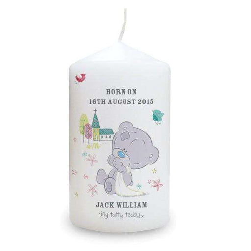 Personalised Tiny Tatty Teddy Christening Candle from Pukkagifts.uk